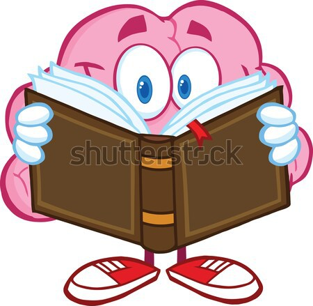 Blue Eyeball Guy Cartoon Mascot Character Reading A Book Stock photo © hittoon