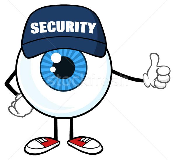 青 眼球 漫画のマスコット 文字 警備員 親指 ストックフォト © hittoon