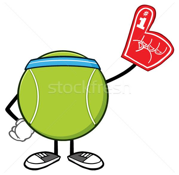 Teniszlabda rajzfilm kabala karakter visel hab ujj Stock fotó © hittoon
