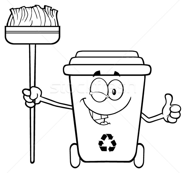 Black And White Winking Recycle Bin Cartoon Mascot Character Holding A Broom And Giving A Thumb Up Stock photo © hittoon