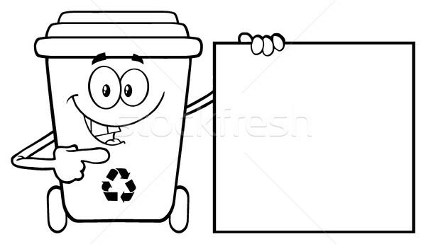 Beszél feketefehér újrahasznosít tároló rajzfilm kabala karakter Stock fotó © hittoon