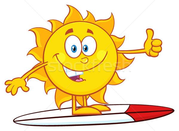 Szörfös nap rajzfilm kabala karakter szörf mutat Stock fotó © hittoon