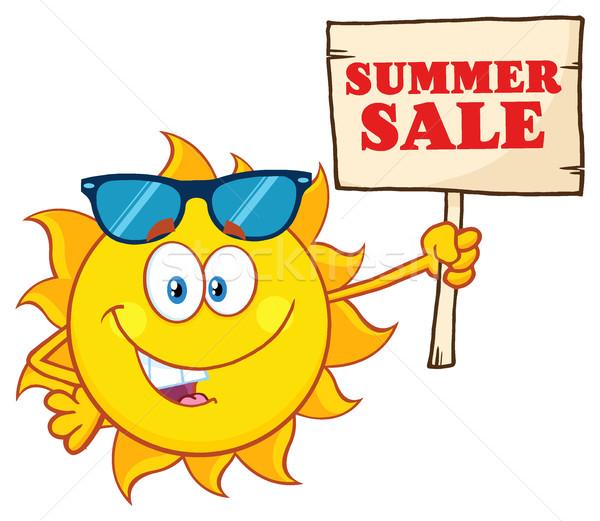 Yaz güneş karikatür maskot karakter güneş gözlüğü Stok fotoğraf © hittoon