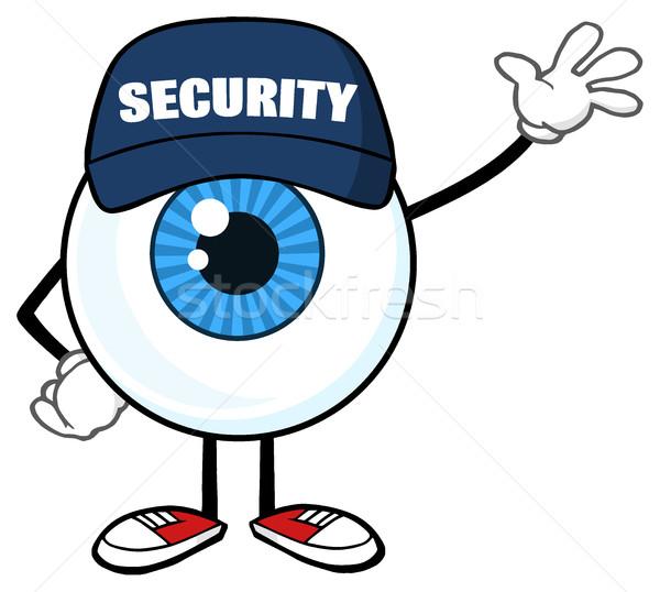 Azul globo del ojo mascota de la historieta carácter guardia de seguridad Foto stock © hittoon