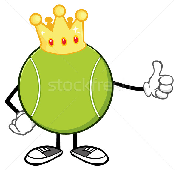 King Tennis Ball Faceless Cartoon Mascot Character With Golden Crown Giving A Thumb Up Stock photo © hittoon