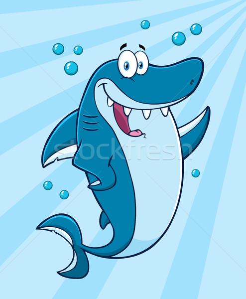 Boldog kék cápa rajzfilm kabala karakter integet Stock fotó © hittoon