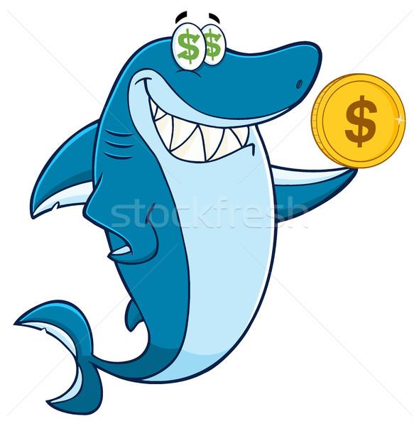 Ganancioso tubarão mascote dourado Foto stock © hittoon