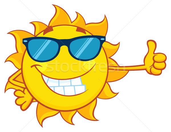 Mosolyog nap rajzfilm kabala karakter napszemüveg remek Stock fotó © hittoon
