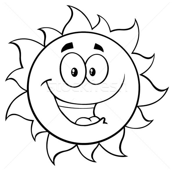 Siyah beyaz mutlu güneş karikatür maskot karakter örnek Stok fotoğraf © hittoon