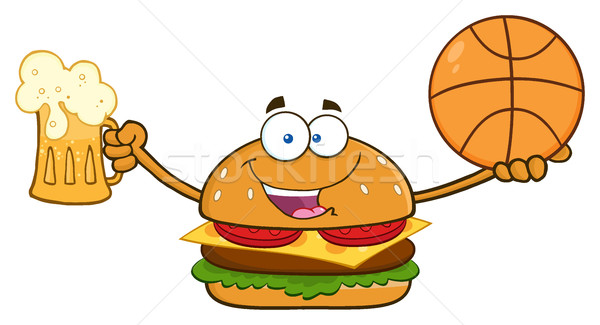 Happy Burger Cartoon Mascot Character Holding A Beer And Basketball Stock photo © hittoon