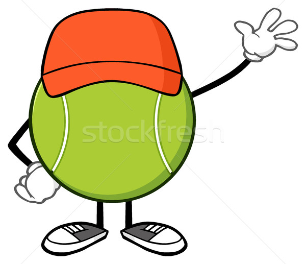 Tennis Ball Faceless Cartoon Character With Hat Waving For Greeting Stock photo © hittoon