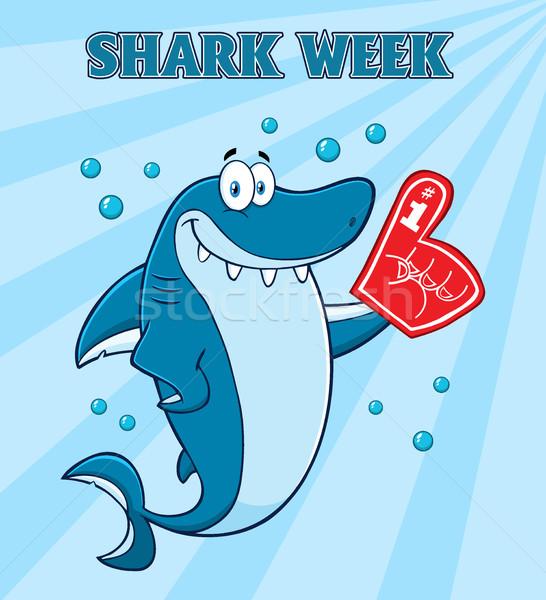 Cute синий акула мультфильм талисман характер Сток-фото © hittoon