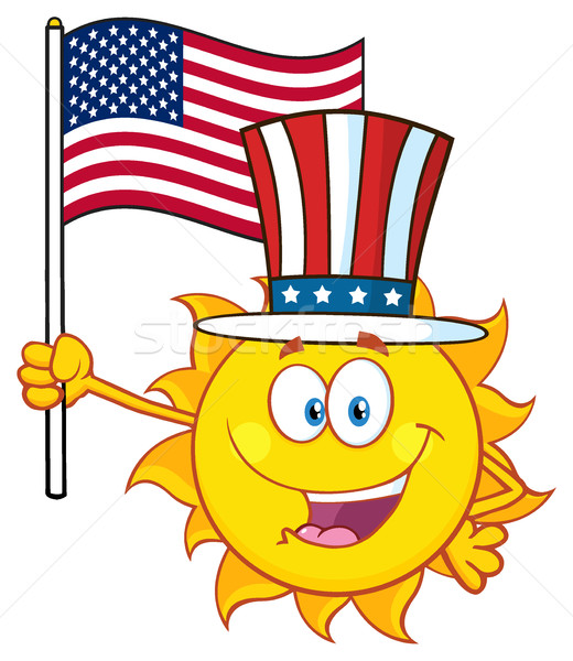 Cute Sun Cartoon Mascot Character With Patriotic Hat Holding An American Flag Stock photo © hittoon