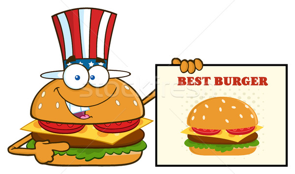 American Burger Cartoon Mascot Character Pointing To A Sign Banner With Text Best Burger Stock photo © hittoon