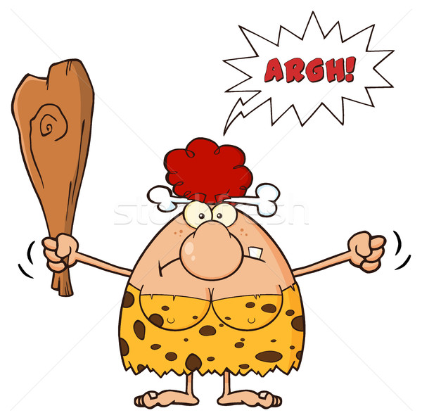 Angry Red Hair Cave Woman Cartoon Mascot Character Holding Up A Fist And A Club Stock photo © hittoon