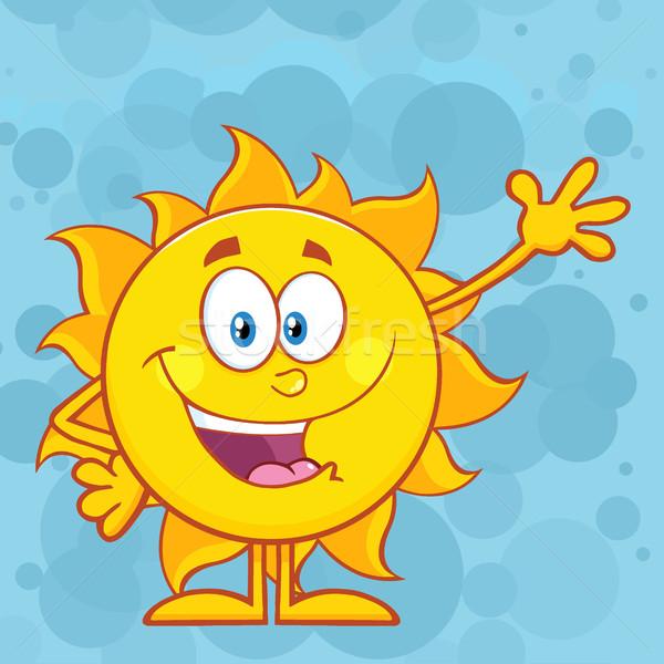 Cute Sun Cartoon Mascot Character Waving For Greeting Stock photo © hittoon