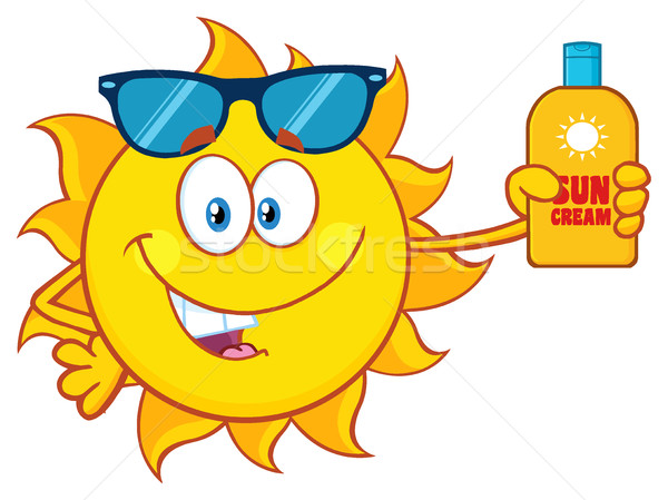 Cute Sun Cartoon Mascot Character With Sunglasses Holding A Bottle Of Sun Block Cream With Text Stock photo © hittoon