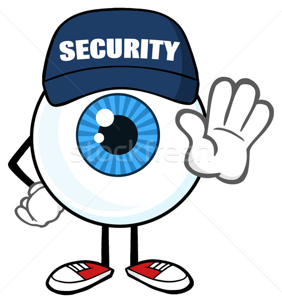 Blue Eyeball Cartoon Mascot Character Security Guard Gesturing A Stop Stock photo © hittoon