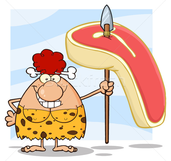 Happy Red Hair Cave Woman Cartoon Mascot Character Holding A Spear With Big Raw Steak Stock photo © hittoon