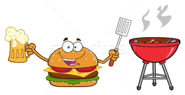 Happy Burger Cartoon Mascot Character Holding A Beer And Bbq Slotted Spatula By A Grill Stock photo © hittoon