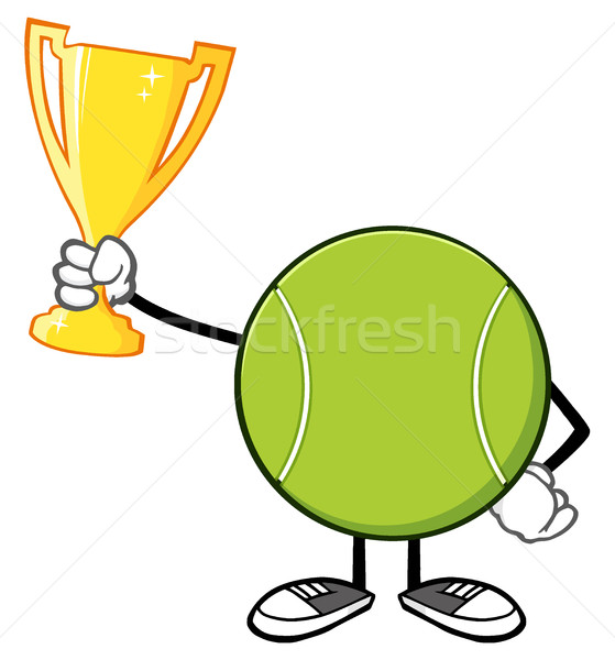 Tennis Ball Faceless Cartoon Mascot Character Holding A Trophy Cup Stock photo © hittoon