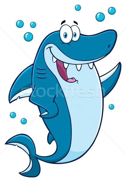 Happy Blue Shark Cartoon Mascot Character Waving For Greeting Stock photo © hittoon
