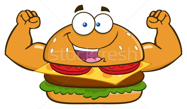 Funny Burger Cartoon Mascot Character Flexing His Muscles Stock photo © hittoon