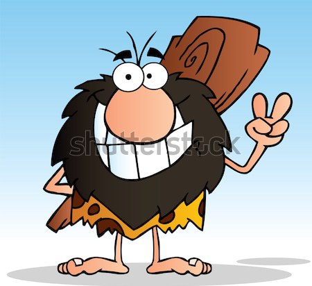 Funny Male Caveman Cartoon Mascot Character Holding A Stone Blank Sign Stock photo © hittoon