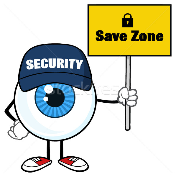 Stock photo: Blue Eyeball Cartoon Mascot Character Security Guard Holding Up A Save Zone Sign