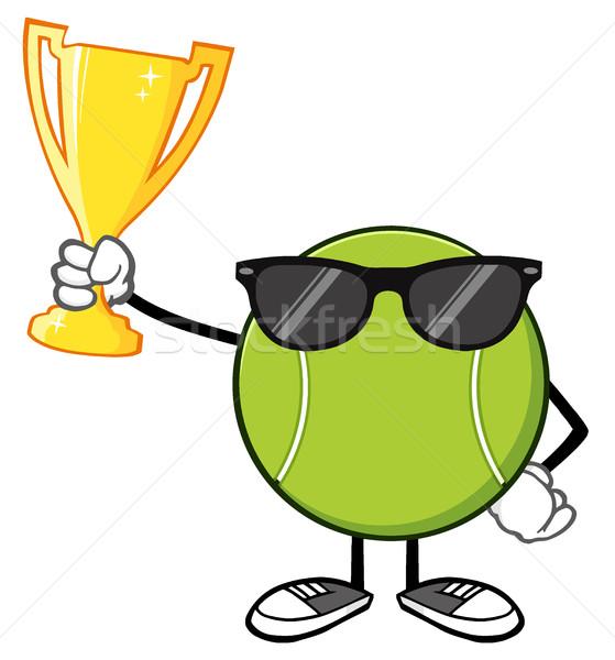 Balle de tennis mascotte dessinée personnage lunettes de soleil trophée Photo stock © hittoon