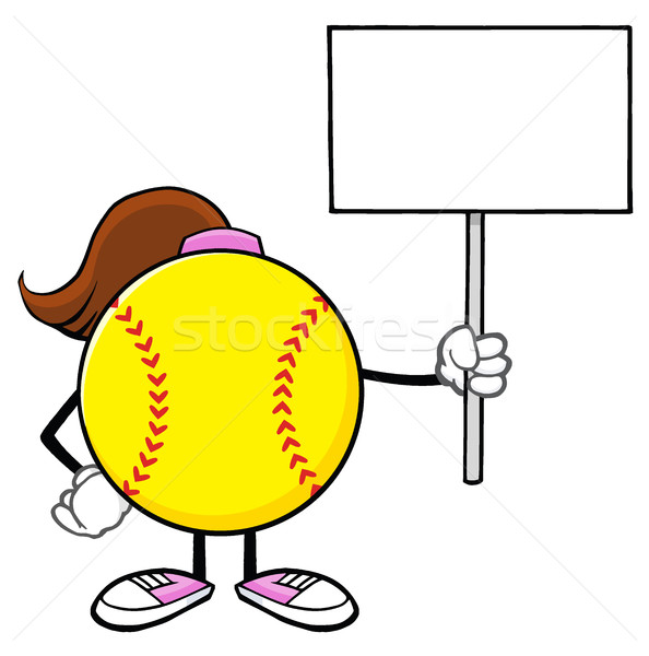 Softball Girl Faceless Cartoon Mascot Character Holding A Blank Sign Stock photo © hittoon