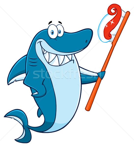 Mosolyog kék cápa rajzfilm kabala karakter tart Stock fotó © hittoon