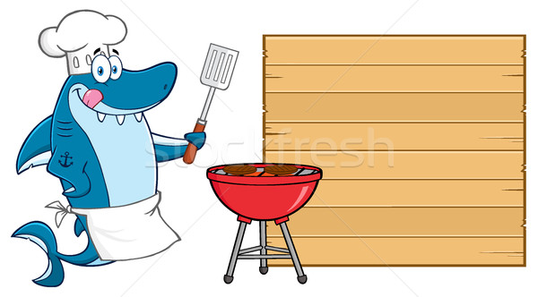 Chef azul tiburón carácter labios Foto stock © hittoon