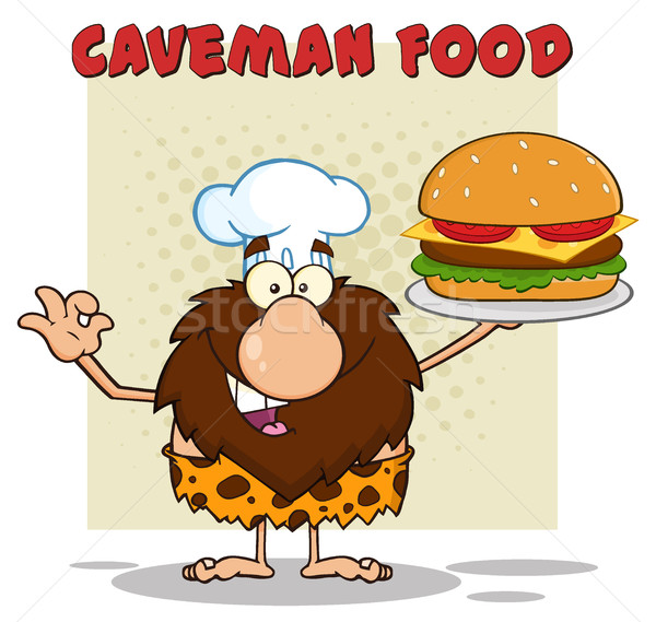 Chef Male Caveman Cartoon Mascot Character Holding A Big Burger And Gesturing Ok Stock photo © hittoon