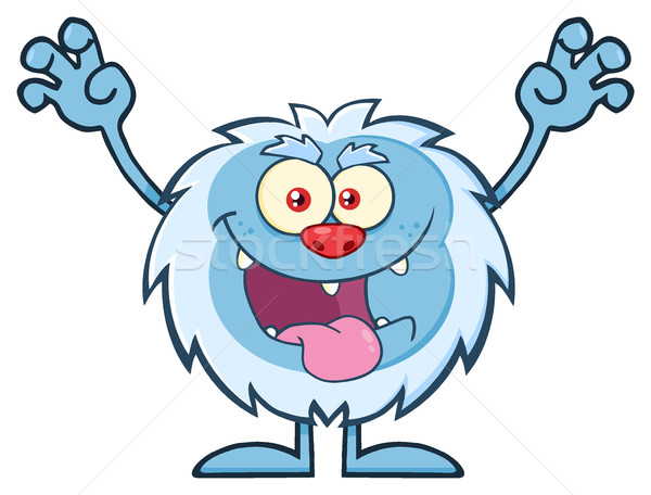 Scary Yeti Cartoon Mascot Character With Open Arms And Mouth Stock photo © hittoon