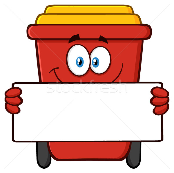 Smiling Red Recycle Bin Cartoon Mascot Character Holding A Blank Sign Stock photo © hittoon
