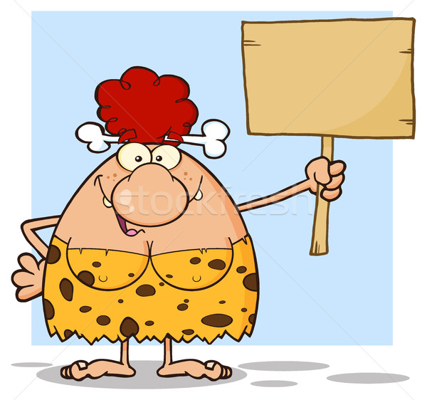 Stock photo: Happy Red Hair Cave Woman Cartoon Mascot Character Holding A Wooden Board