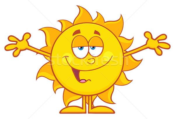 Mosolyog szerető nap rajzfilm kabala karakter nyitva Stock fotó © hittoon