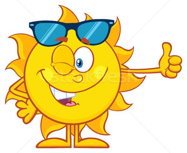 Stockfoto: Glimlachend · zon · cartoon · mascotte · karakter · zonnebril