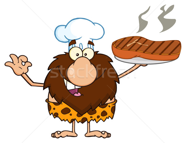 Stock photo: Chef Male Caveman Cartoon Mascot Character Holding Up A Platter With Big Grilled Steak And Gesturing