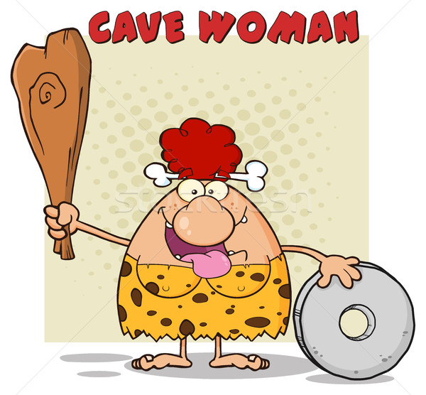 Happy Red Hair Cave Woman Cartoon Mascot Character Holding A Club And Showing Wheel Stock photo © hittoon