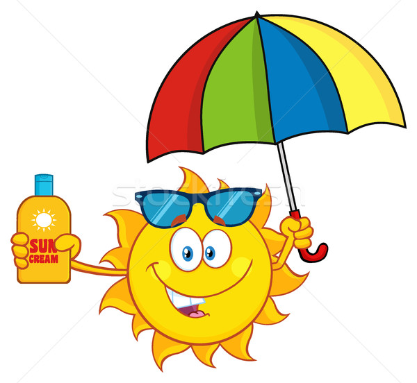 Stock photo: Cute Sun Cartoon Mascot Character Holding A Umbrella And Bottle Of Sun Block Cream With Text