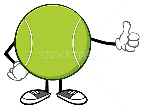 Tennis Ball Faceless Cartoon Mascot Character Giving A Thumb Up Stock photo © hittoon