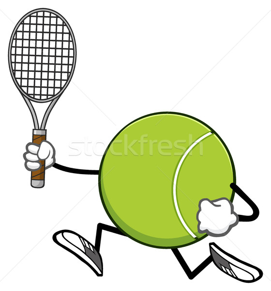 Tennis Ball Faceless Cartoon Character Running With Racket Stock photo © hittoon