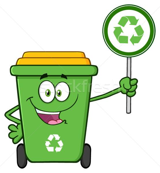 Sevimli yeşil geri dönüşüm karikatür maskot karakter Stok fotoğraf © hittoon