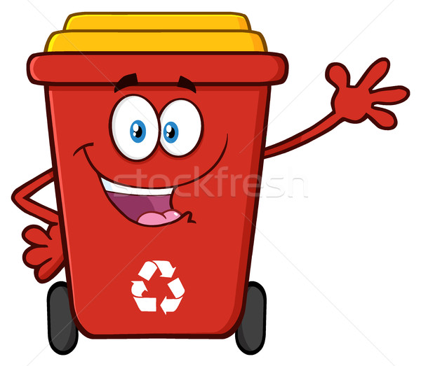 Happy Red Recycle Bin Cartoon Mascot Character Waving For Greeting Stock photo © hittoon