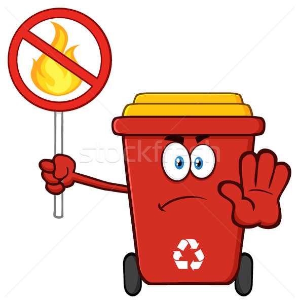Angry Red Recycle Bin Cartoon Mascot Character Gesturing Stop And Holding A Fire Restricted Sign Stock photo © hittoon