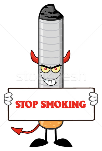 Diable cigarette mascotte dessinée personnage sinistre Photo stock © hittoon