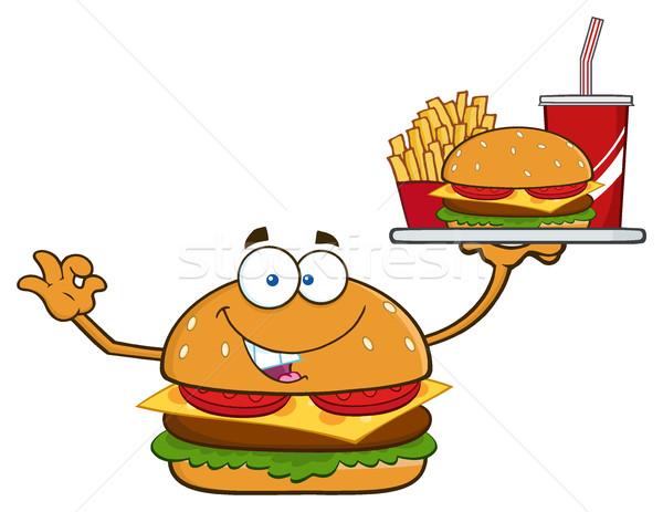 Burger мультфильм талисман характер картофель фри соды Сток-фото © hittoon