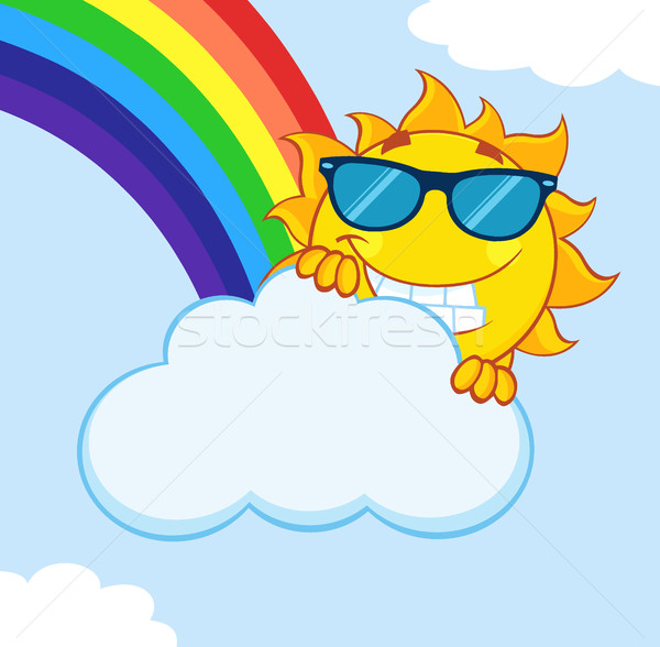 Smiling Summer Sun Mascot Cartoon Character With Sunglasses Hiding Behind Cloud With Rainbow Stock photo © hittoon